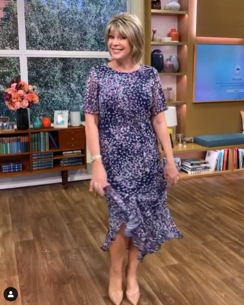 where to get Ruth Langsford This Morning dresses blue navy floral dress 25 May 2020 Photo Ruth Langsford