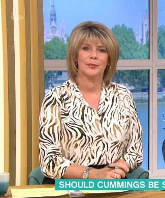 where to get Ruth Langsford This Morning outfit white animal print shirt 26 MAy 2020 Photo ITV