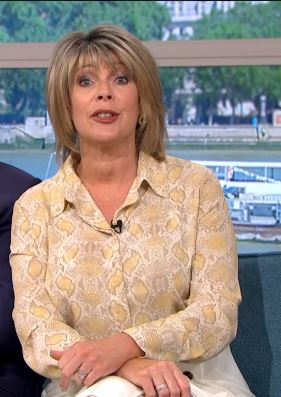 where to get Ruth Langsford this Morning outfits yellow beige snake print shirt 28 May 2020 Photo ITV