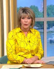 where to get ruth Langsford yellow chain print shirt This Morning 15 May 2020 Photo ITV