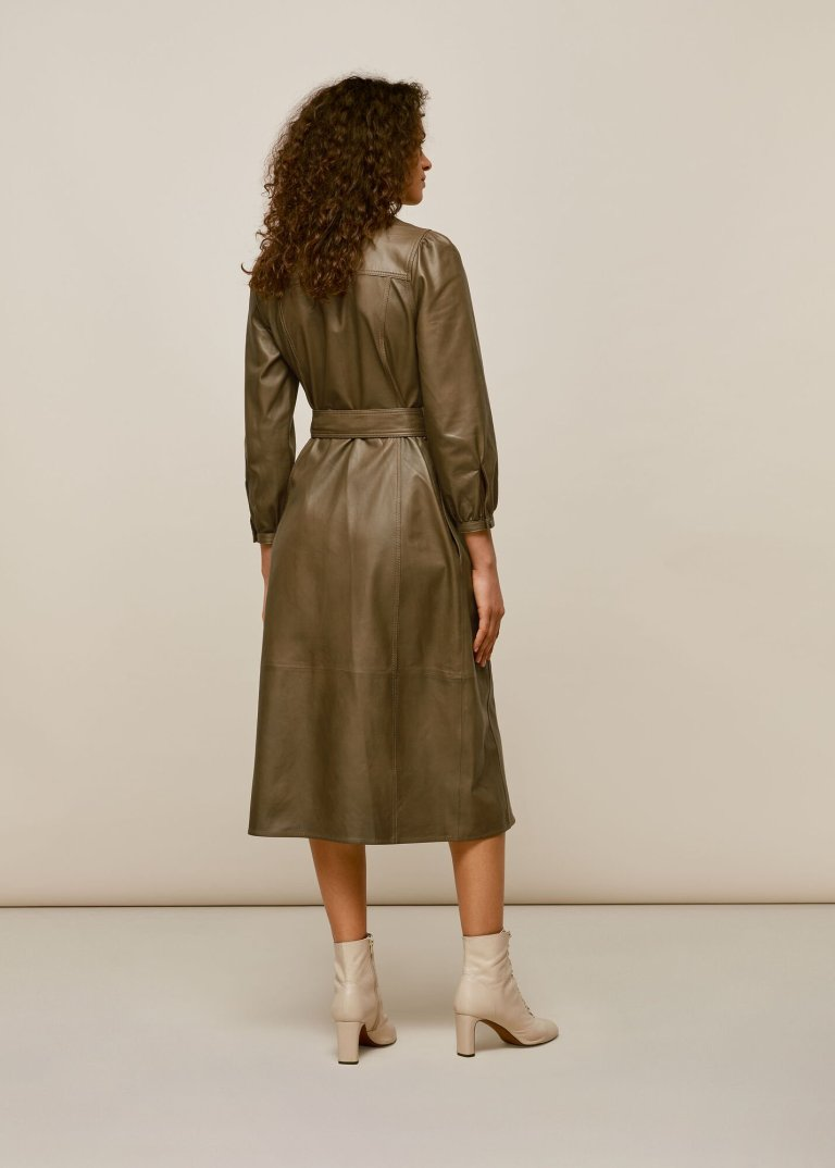 Whistles Phoebe Leather Shirt Dress back view