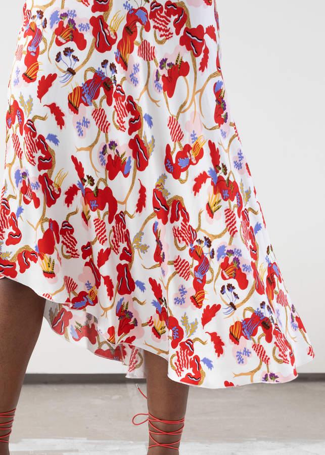 And Other Stories Asymmetrical Satin Midi Skirt