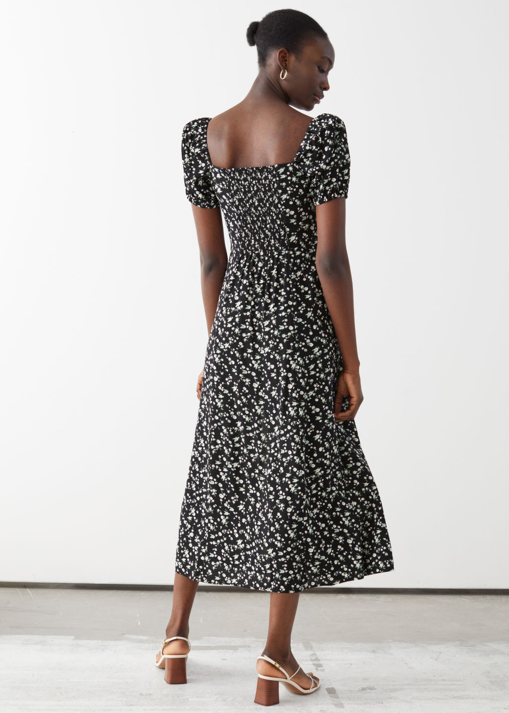 And Other Stories Flowy Puff Sleeve Midi Dress back view