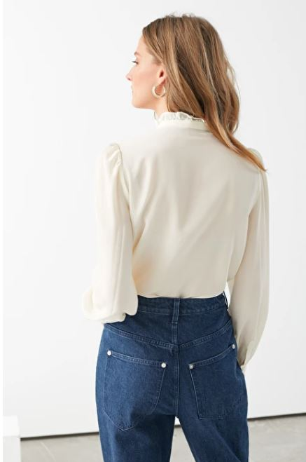 And Other Stories Ruffle Collar Silk Shirt back view (1)
