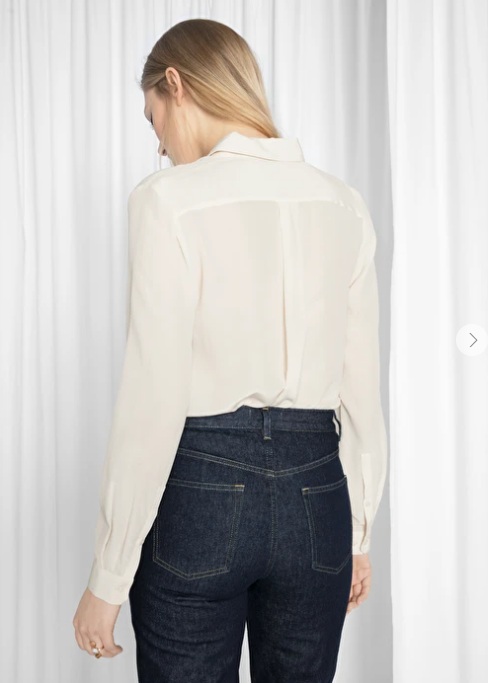 And Other Stories Straight Fit Silk Shirt off white back view