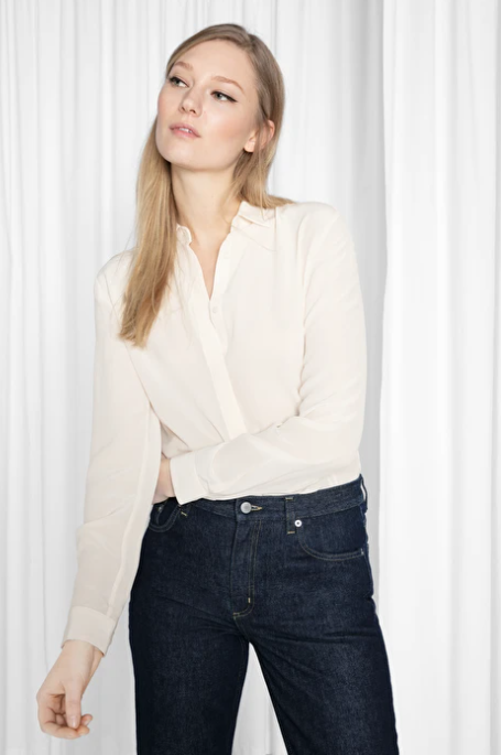 And Other Stories Straight Fit Silk Shirt off white