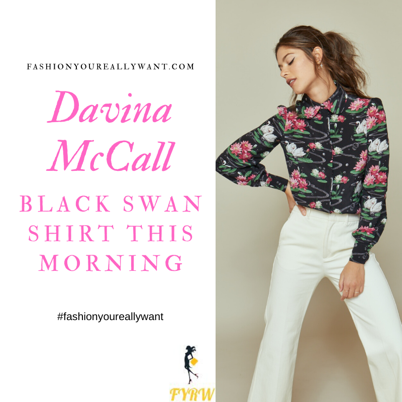 Where to get all Davina McCall This Morning outfits blog June 2020 black floral swan print shirt