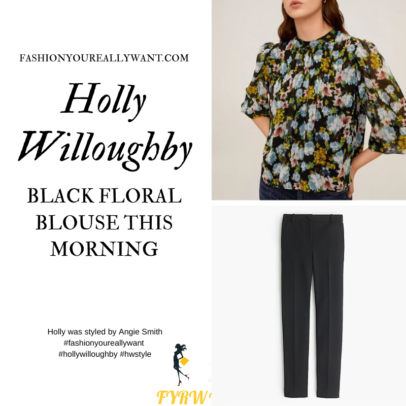 Where to get all Holly Willoughby This Morning outfits blog June 2020 black floral high neck blouse pleated front black skinny trousers