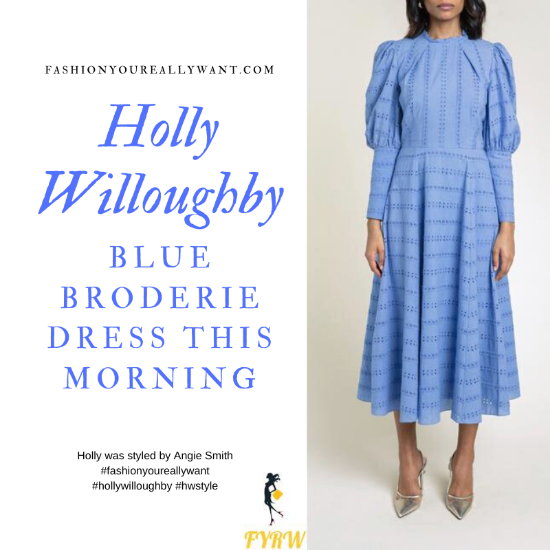 Where to get all Holly Willoughby outfits blog June 2020 blue long sleeve broderie anglaise midi dress