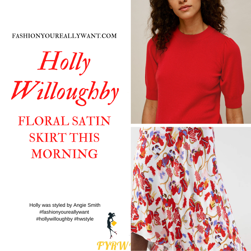 Where to get all Holly Willoughby This Morning outfits blog June 2020 white satin asymmetric floral skirt red and purple red short sleeve knit top