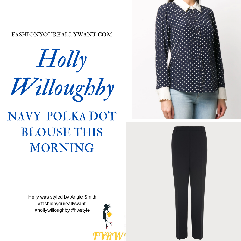 Where to get all Holly Willoughby This Morning outfits blog June 2020 navy blouse white polka dots white collar navy trousers