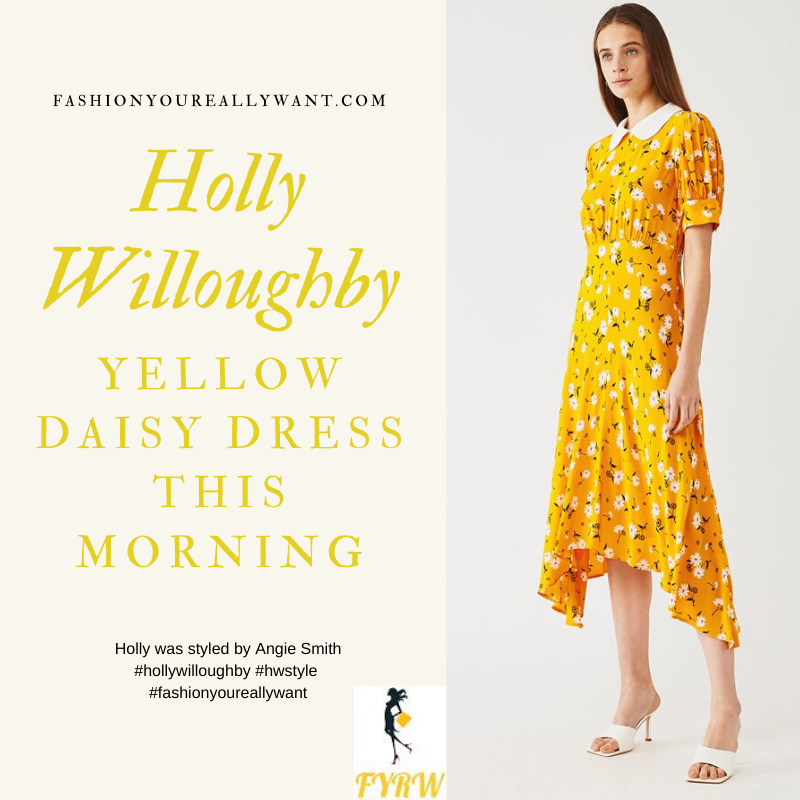 Where to get all Holly Willoughby This Morning outfits blog June 2020 yellow dress with white daisies asymmertic hem Peter Pan collar
