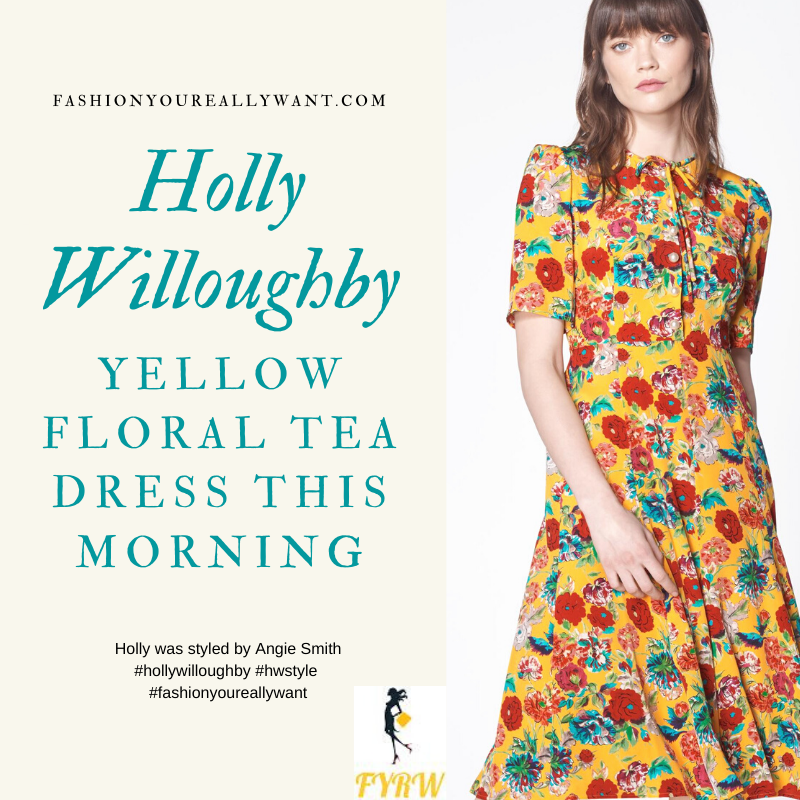 Where to get all Holly Willoughby This Morning outfits blog June 2020 yellow tie neck tea dress with multi floral print