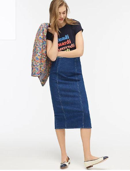 J Crew Denim Pencil Skirt in Blue Horizon wash