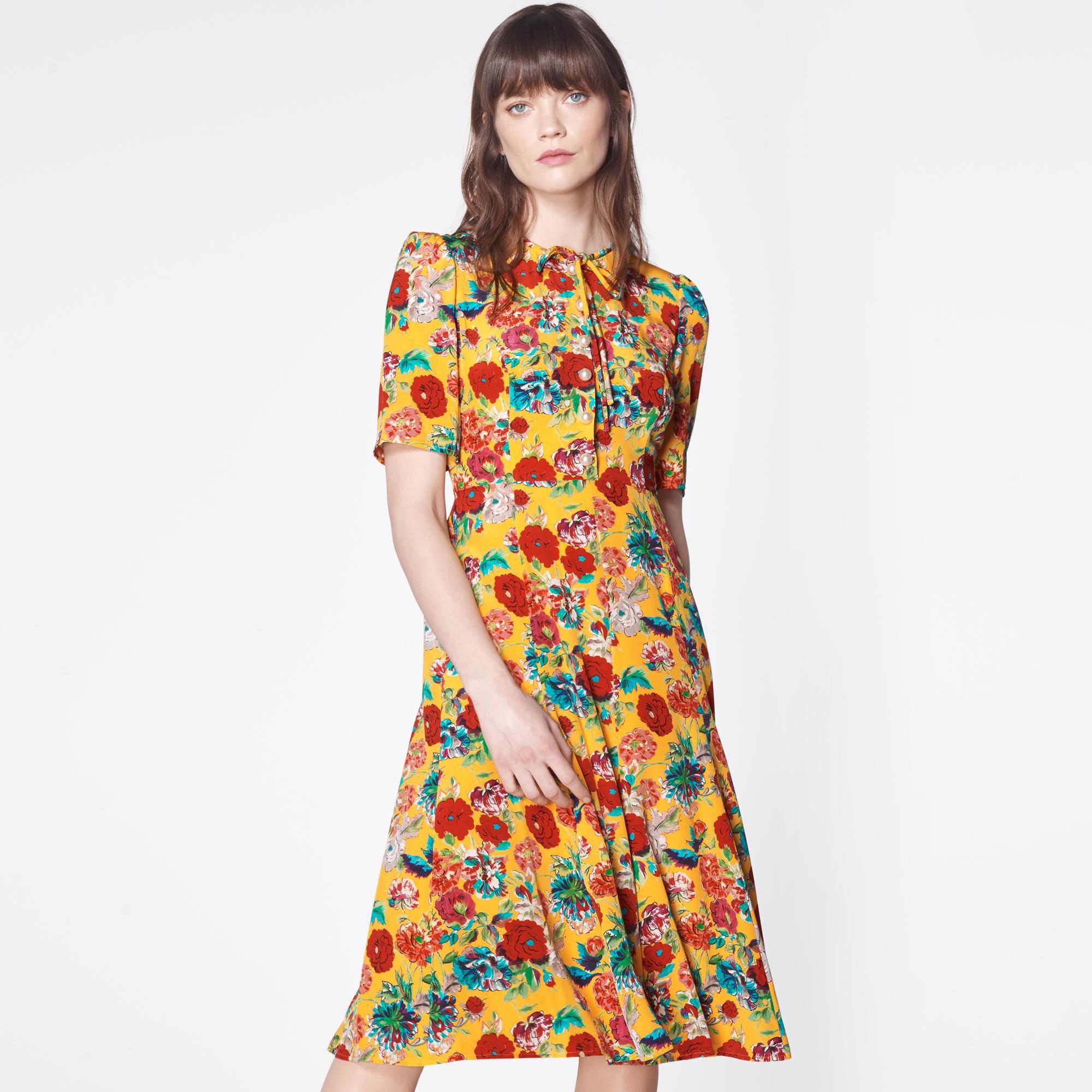 LK Bennett Montana Yellow Silk Tea Dress