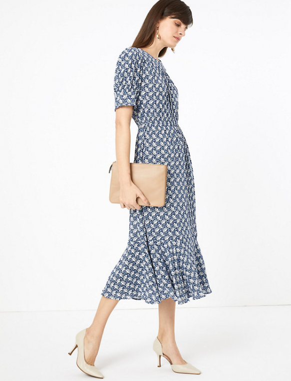 M&S collection Printed Yoke Midi Waisted Dress