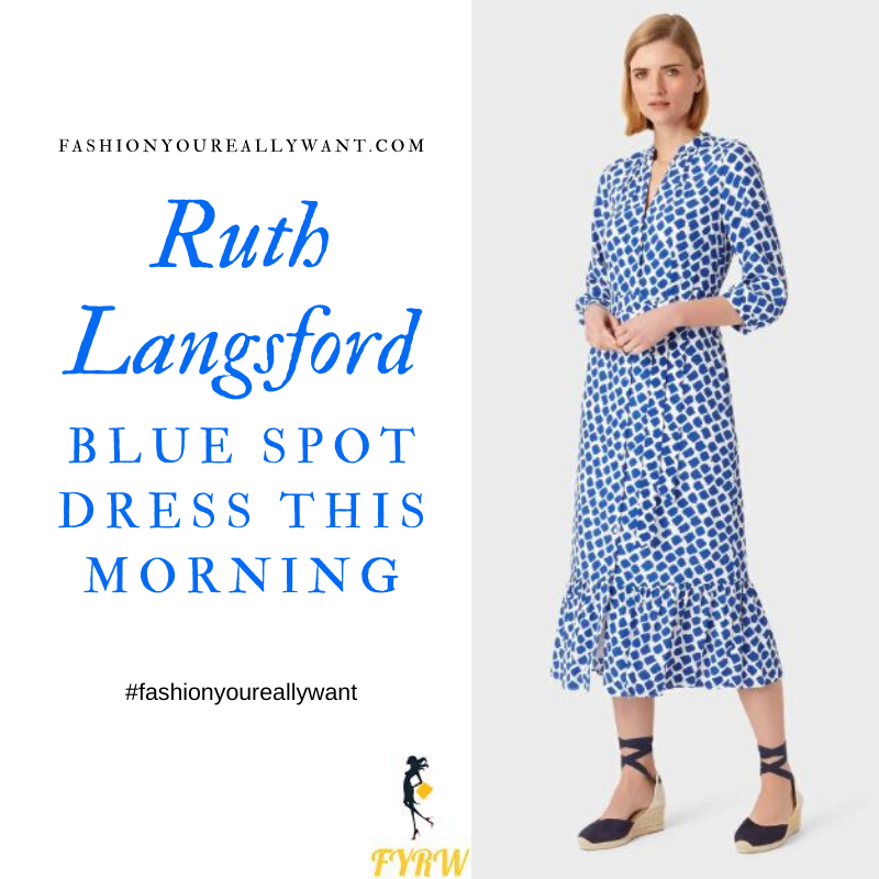 Where to get Ruth Langsford This Morning outfits blog June 2020 white shirt dress with blue square spots