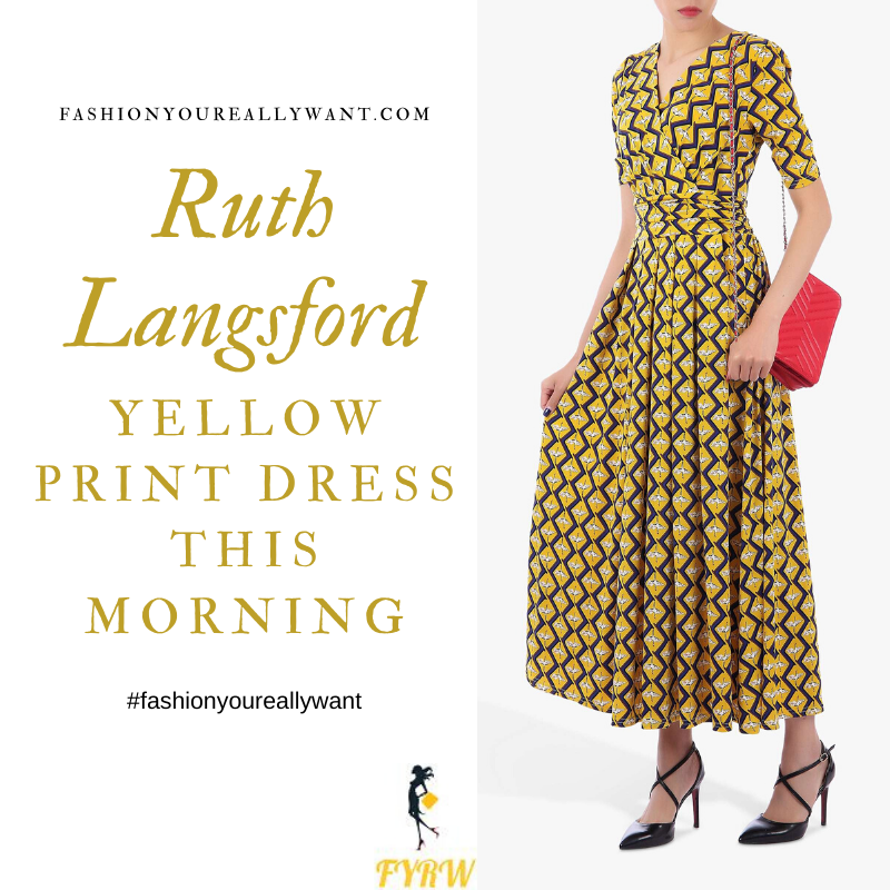 Where to get Ruth Langsford This Morning outfits blog June 2020 yellow and black square print v neck dress