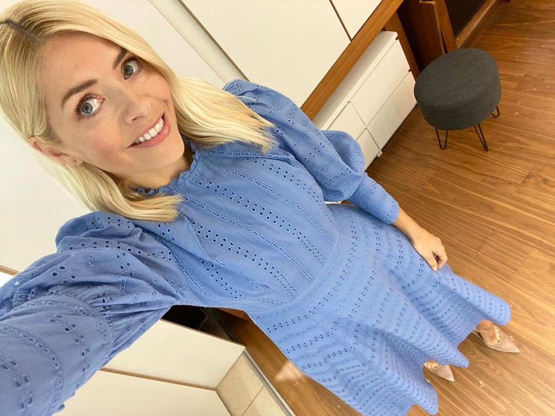 where to get all Holly Willoughby This Morning dresses blue broderie anglaise dress 3 June 2020 Photo Holly Willoughby