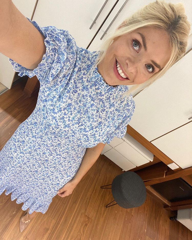 where to get all Holly Willoughby This Morning dresses blue white ditsy print high neck dress 16 June 2020 Photo Holly Willoughby