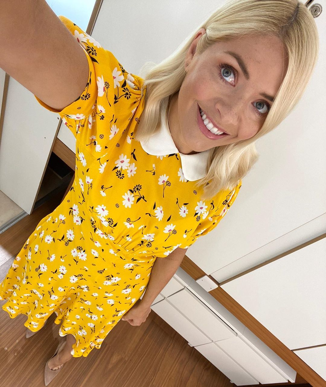 where to get all Holly Willoughby this Morning dresses yellow daisy dress with peter pan collar 1 June 2020 Photo Holly Willoughby