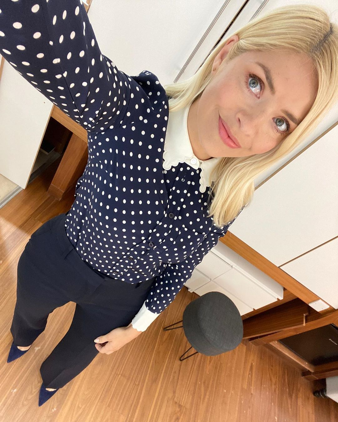 where to get all holly willoughby This Morning outfits navy blue and white polka dot shirt navy trousers 4 June 2020 Photo Holly Willoughby