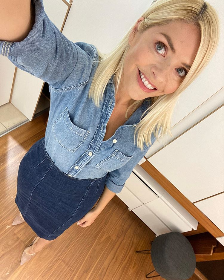 Where to get Holly Willoughby This Morning outfit today blue denim shirt blue denim pencil skirt 29 June 2020 Photo Holly Willoughby