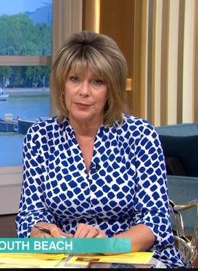 where to get Ruth Langsford This Morning dresses blue and white square spot shirt dress 26 june 2020 Photo ITV