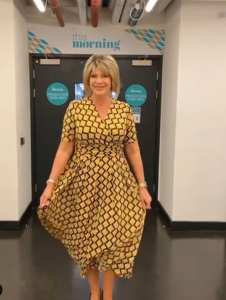 where to get ruth Langsford This Morning dresses yellow square print black v neck dress 12 June 2020 Photo Ruth Langsford