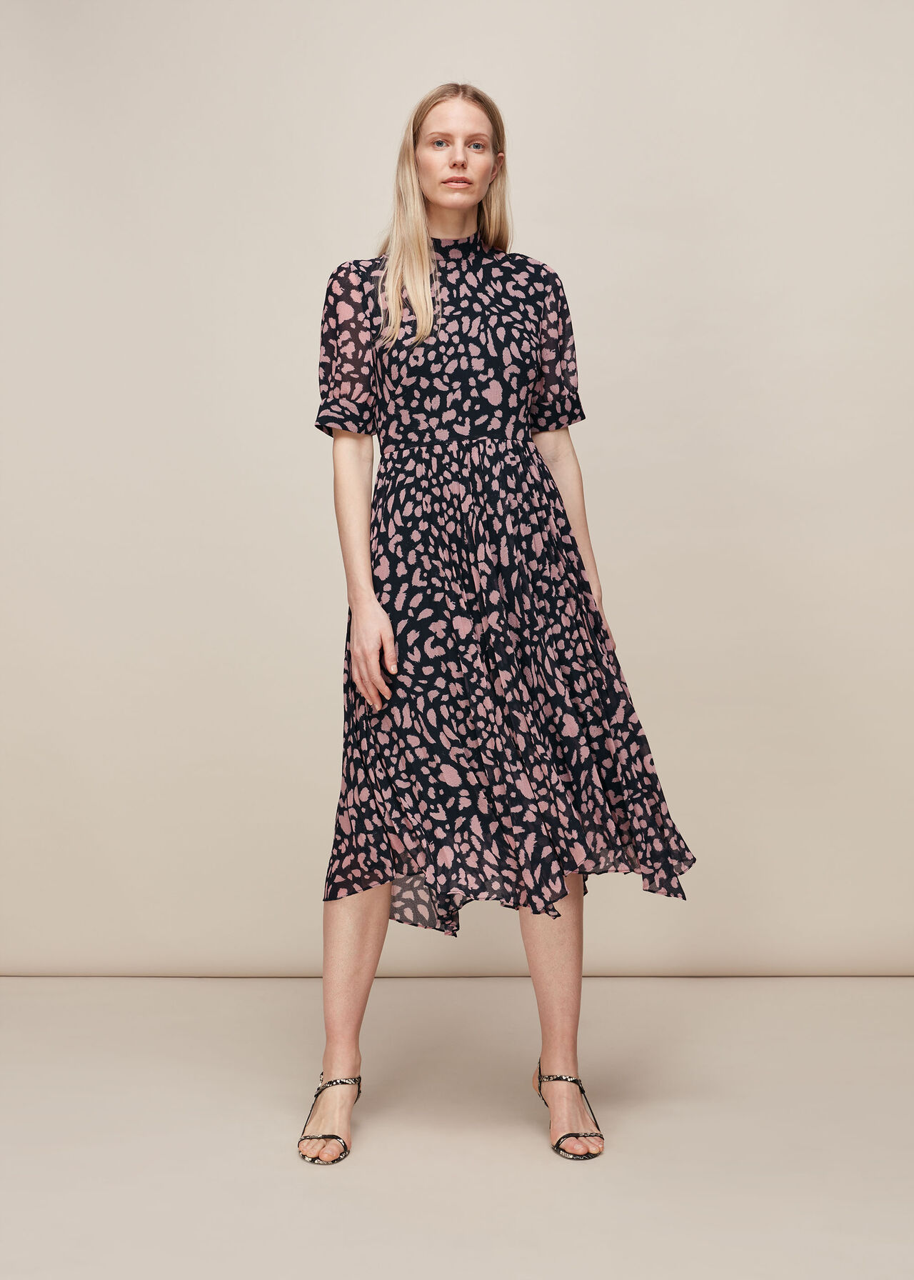 Whistles Brushed Cheetah Pleated Dress
