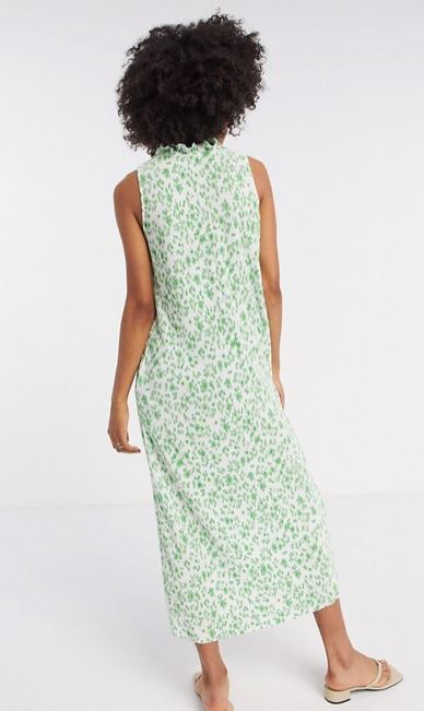 ASOS DESIGN plisse midi dress with frill neck in green floral back view