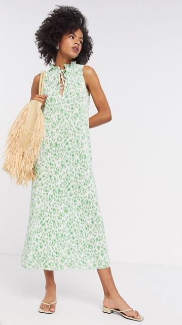 ASOS DESIGN plisse midi dress with frill neck in green floral