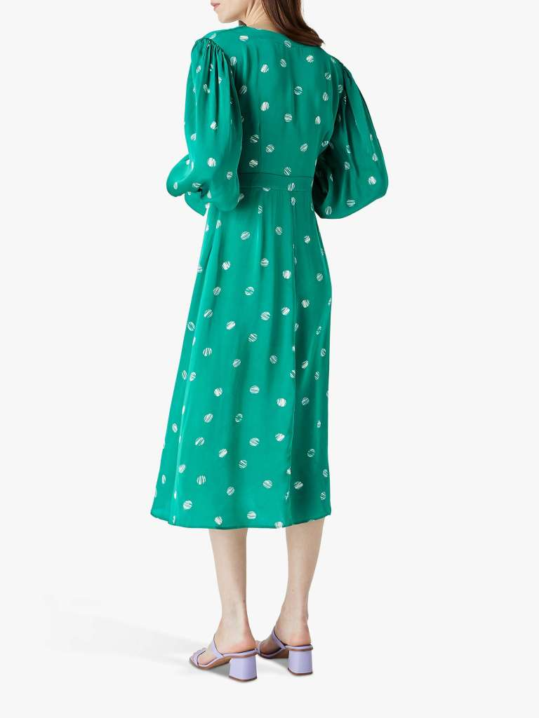 Finery Shiloh Spotted Midi Dress back view