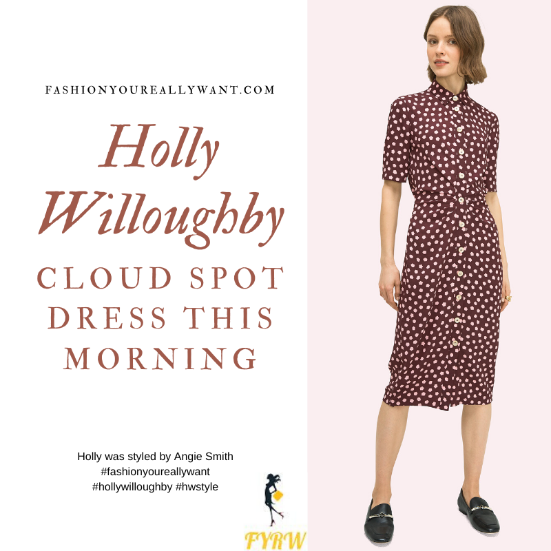 Where to get all Holly Willoughby This Morning outfits blog July 2020 burgundy maroon button front midi dress with pink cloud shaped dots