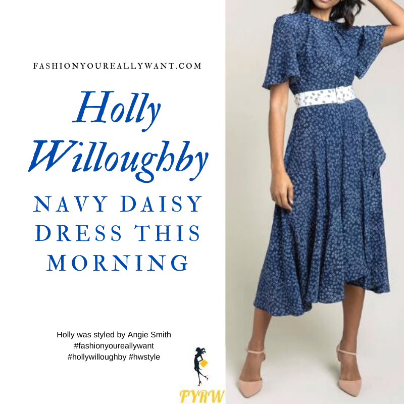 Where to get all Holly Willoughby This Morning outfits blog July 2020 navy midi dress with flutter sleeve white daisy print and white belt