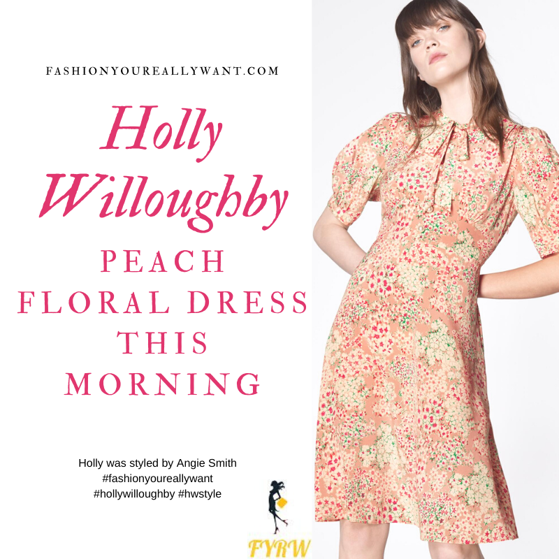 Where to get all Holly Willoughby This Morning outfits blog July 2020 peach floral tea dress with pearl buttons and tie neck