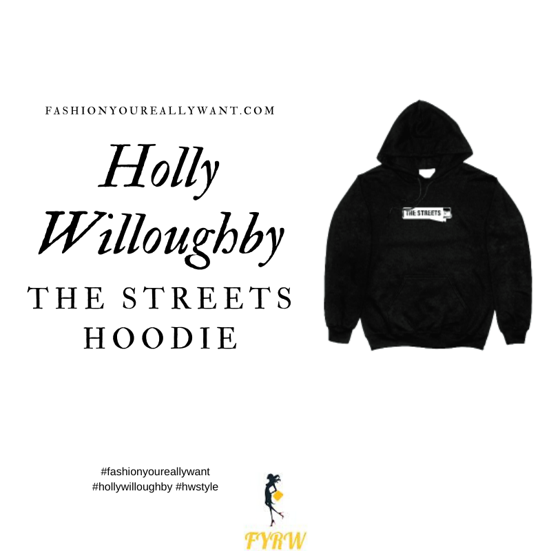 Where to get all Holly Willoughby outfits blog July 2020 black The Streets hoodie white star trainers
