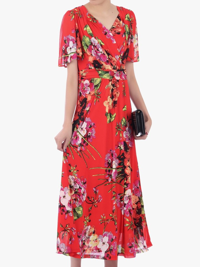 Jolie Moi Floral Print Mesh Maxi Dress