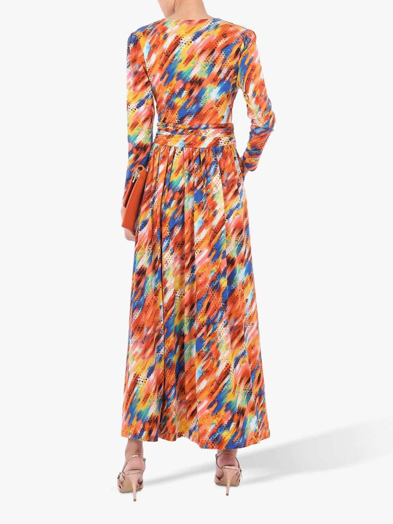 Jolie Moi Long Sleeve Abstract Print Maxi Dress back view