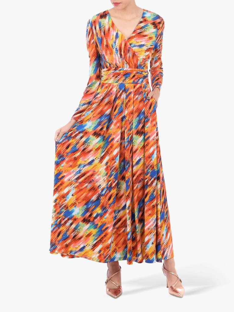 Jolie Moi Long Sleeve Abstract Print Maxi Dress