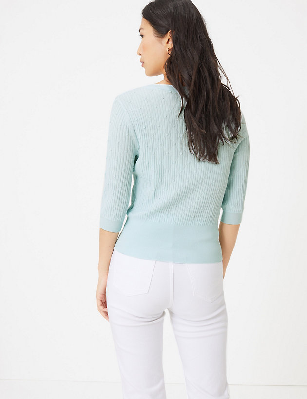 M&S Collection Textured knitted v neck top back view