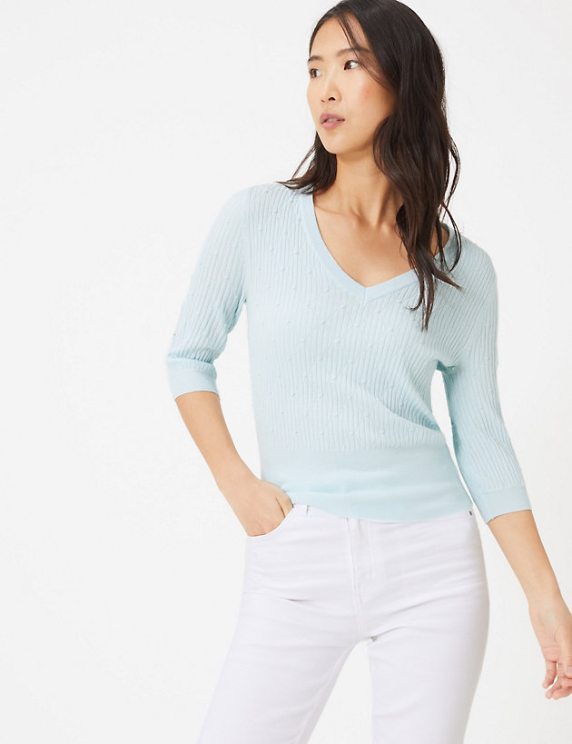 M&S Collection Textured knitted v neck top