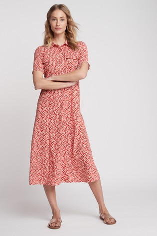 Red Geo Print Midi Shirt Dress
