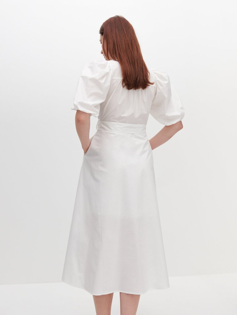 Reserved Shirt Dress with Puff Sleeves back view