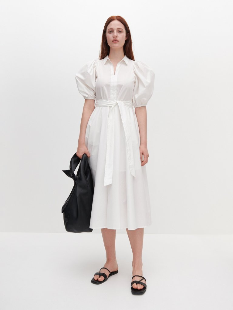 Reserved Shirt Dress with Puff Sleeves