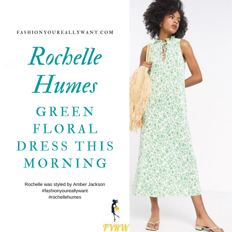 where to get all Rochelle Humes this Morning outfits bog July 2020 white and green floral frill neck midi dress white heeled mules