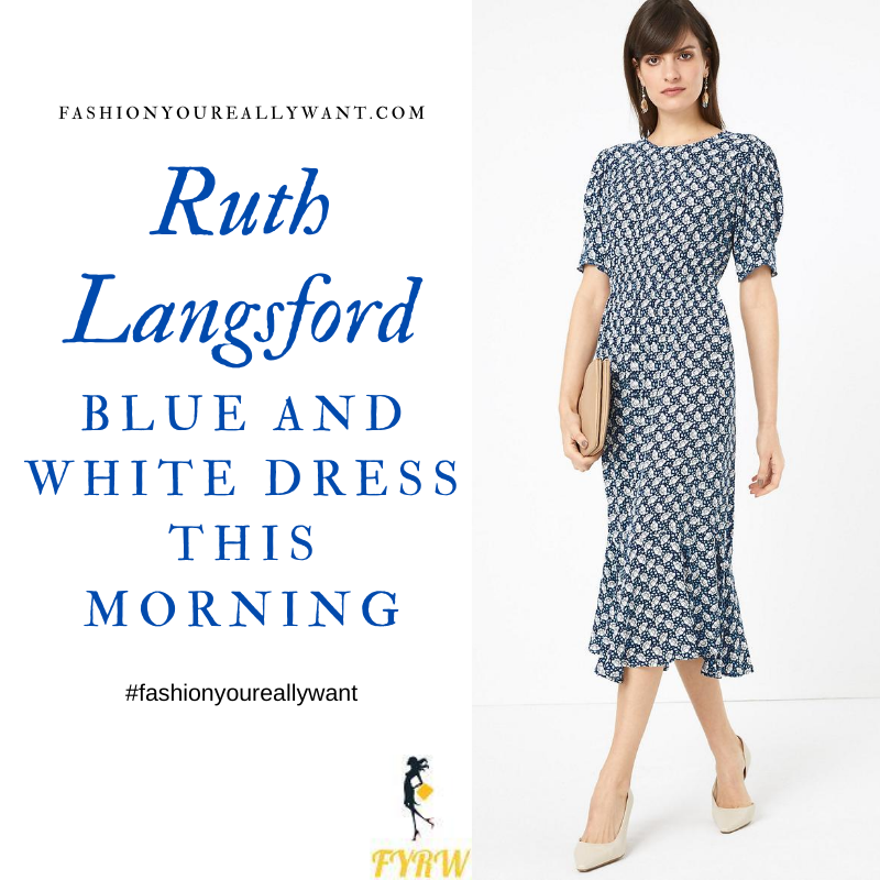 Where to get all Ruth Langsford This Morning outfits blog July 2020 blue and white cabage print midaxi dress short sleeve frill hem