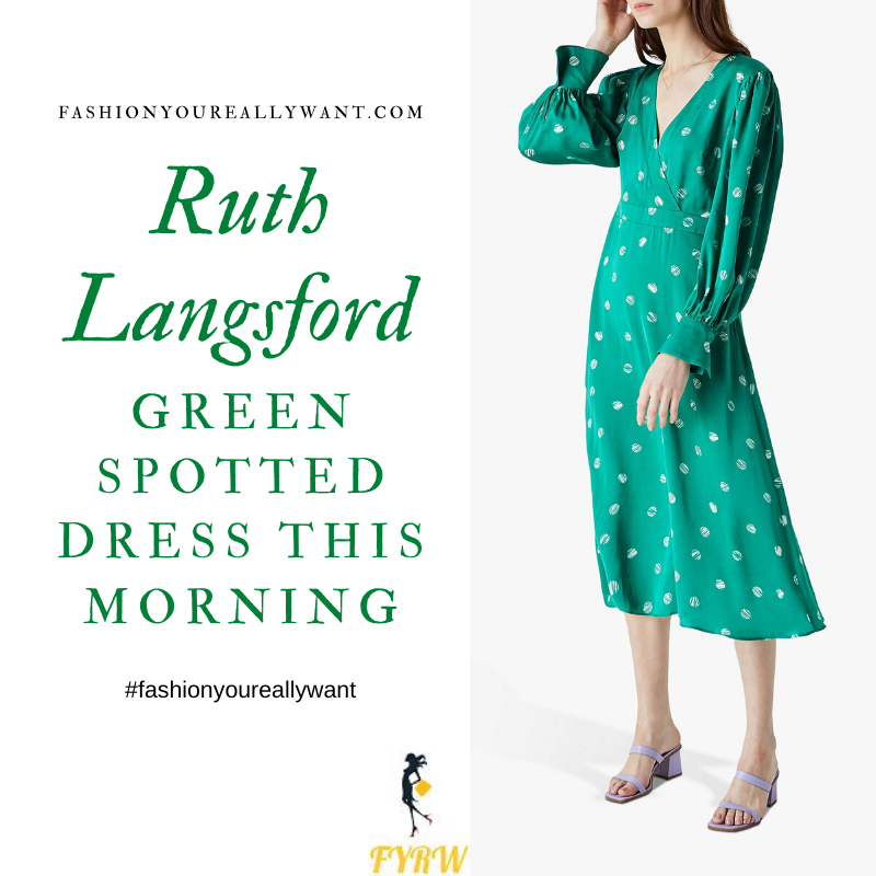 Where to get all Ruth Langsford This Morning outfits blog July 2020 v neck long sleeve green midi dress white spot