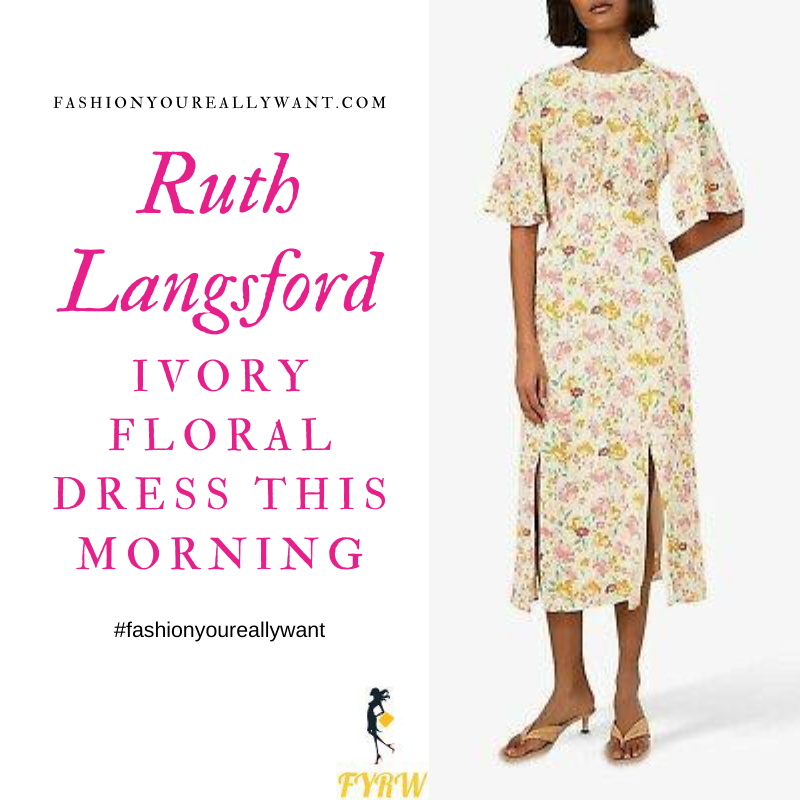 Where to get all Ruth Langsford This Morning outfits blog July 2020 ivory white dress pink yellow floral angel sleeve midi dress