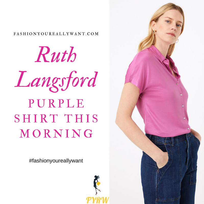 Where to get all Ruth Langsford This Morning outfits blog July 2020 purple pink short sleeve shirt black trouser